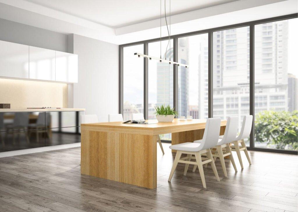 grey-laminate-floor in a kitchen